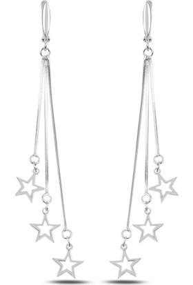 Bakalcik Gümüş 925 Ayar , Rodyum Kaplama, Zirkon Taş Detaylı, Sallantılı Yıldız J Küpe
