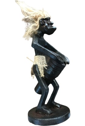 Alpin Ofis Afrikalı Biblo Dekoratif Yamyam Adam Müzisyen Afrika Dekoratif Afrika Yamyam Müzisyen Ofis Masaüstü