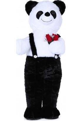 Selay Toys Tulumlu Çiçekli Panda 80 cm Peluş Oyuncak