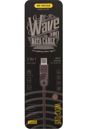Wk WDC-015 3in1 Micro USB Data ve Şarj Kablosu