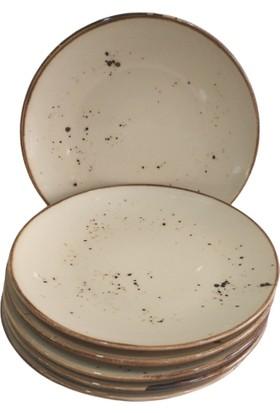 Evanilife 6 Adet 24 cm Reaktif Model Porselen (Stonware) Servis Tabağı Takımı