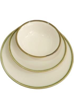 Tulu Porselen Akıtma Yeşil File Model 6 Kişilik 18 Parça Yemek Takımı