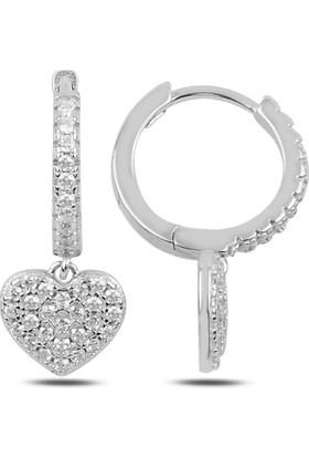 Bakalcik Gümüş 925 Ayar , Rodyum Kaplama, Zirkon Taş Deteylı Sallantılı Kalp Halka Küpe
