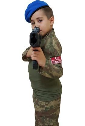 Deha Moda Bordo Bereli Çocuk Asker Kıyafeti Kostümü 5 - 6 Yaş