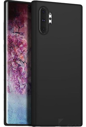 Mahtex Samsung Galaxy Note 10 Plus Süper Silikon Kılıf Siyah