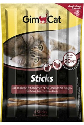 Gimcat Sticks 5 Paket Hindi Tavşan Etli Tahılsız Kedi Ödül Maması (1 Paket-4 Stick = 20 gr)