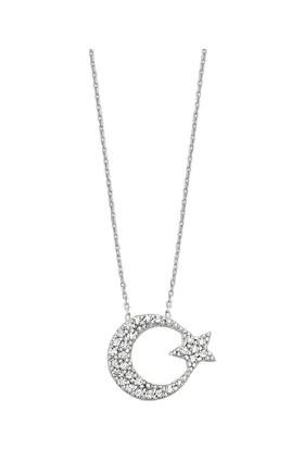 Stil Taki 925 Ayar Gümüş Taşlı Ay Yıldız Kadın Kolye