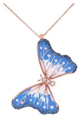 Stil Taki 925 Ayar Mavi Roz Kelebek Gümüş Kolye