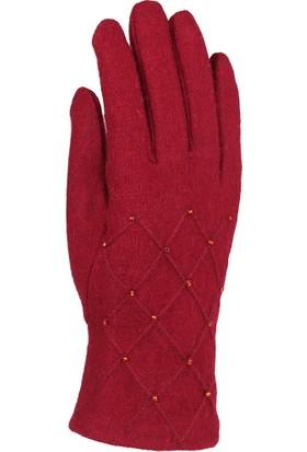 Syt Tek Ebat Kadın Keçe Eldiven Kırmızı