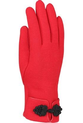 Syt Tek Ebat Kadın Penye Eldiven Kırmızı