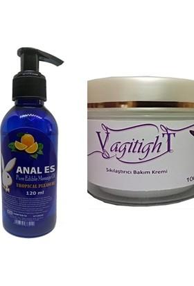 Vagitight Vaginal Tightening Cream 100 ml Vajina Şekillendirici Krem 1 Adet+Tropikal Meyva Aromalı Gevşetici Rahatlatıcı Masaj Jeli Seti