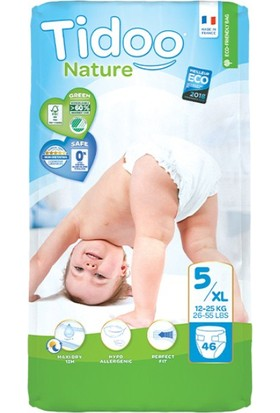 Tidoo Nature Bebek Bezi Junior 5 Beden Numara 12-25 kg 46 Ekolojik Antialerjik Jumbo Paket