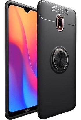 Tbkcase Xiaomi Redmi 8 Ravel Yüzüklü Standlı Silikon Kılıf + Nano Ekran Koruyucu Siyah