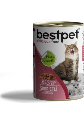 Bestpet Sığır Etli Yetişkin Kedi Konservesi 415 g 30 Adet