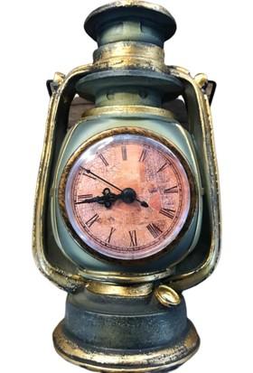 Alpin Nostaljik Masaüstü Saat Gaz Lambası Fener Biblo Otantik Otantik Gaz Lambası Masaüstü Saat