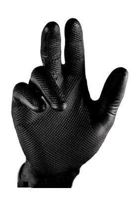 Beybi Siyah Tırtıllı Kalın Eldiven 50'li