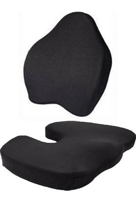 Style Visco-Elastik Oturma ve Sırt Minder 2 'li Set Bel Ofis Sırt Destek Yastığıi