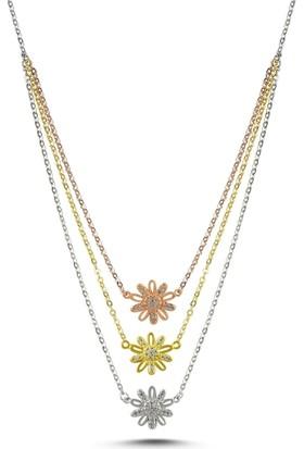 Bakalcik Gümüş 925 Ayar , Zirkon Taş Işlemeli, 3 Renk Papatya Kolye