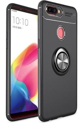 Teleplus Oppo A5s Ravel Yüzüklü Standlı Kılıf Silikon Kılıf + Nano Ekran Koruyucu Siyah