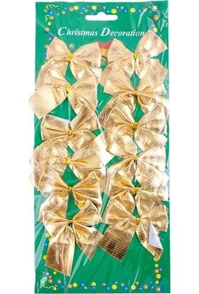 Kullan At Market Altın Fiyonk Ağaç Süsü 5,5 x 5,5 cm 12'li