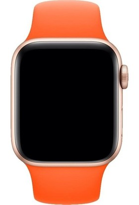 Aksesuarkolic Apple Watch 42-44 mm Silikon Kordon Kayış - Turuncu