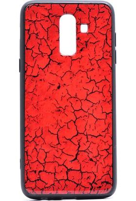 Tekno Gurup Samsung Galaxy J8 Kılıf Mermer Desenli Pane Silikon Kılıf - Kırmızı + Cam Ekran Koruyucu