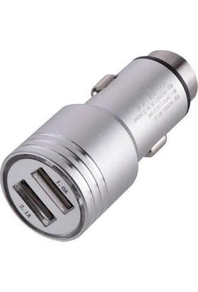 Mahtex Çift USB Araç Şarj Cihazı + Micro USB Kablo - Gümüş