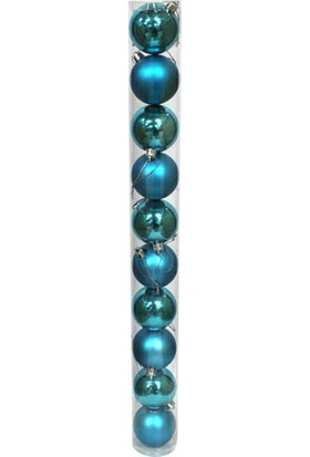 Euro Flora Dekoratif Yılbaşı Topu Mavi 10'lu Paket 6 Cm