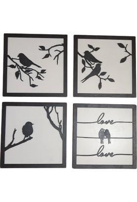 Oteberry Kuşlar 4 Lü Set Duvar Dekoru -Panosu