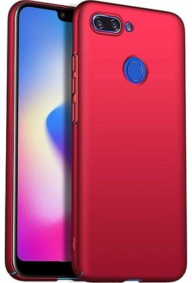 Engo Xiaomi Mi 8 Lite Silikon Mat Dokulu Kılıf Kırmızı