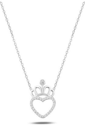 Tokat Gümüş Tk0172 Zirkon Taşlı Kalp & Taç Kolye