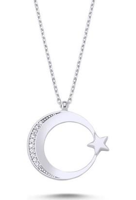 Tokat Gümüş Tk0188 Zirkon Taşlı Ay Yıldız Kolye