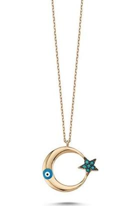 Tokat Gümüş Tk0189 Gümüş 925 Ayar Zirkon Taşlı Ay Yıldız Kolye