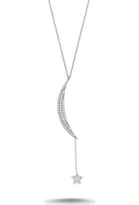 Tokat Gümüş Hilal Ve Yıldız Zirkontaşlı 925 Ayar Gümüş Kolye
