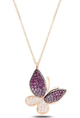 Tokat Gümüş Pembe Tonlamalı Nano Taşlı Kelebek Kolye