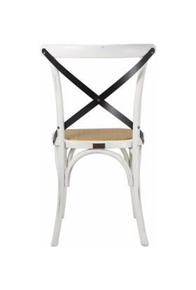 Tmall Home Design Antik Doğal Rattan & Ahşap Sandalye Eskitme Beyaz