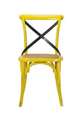 Tmall Home Design Antic Doğal Rattan & Ahşap Sandalye Eskitme Sarı