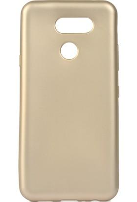 KNY LG K40S Kılıf Ultra İnce Mat Silikon + Cam Ekran Koruyucu Gold