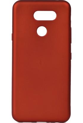KNY LG K40S Kılıf Ultra İnce Mat Silikon + Nano Cam Ekran Koruyucu Kırmızı