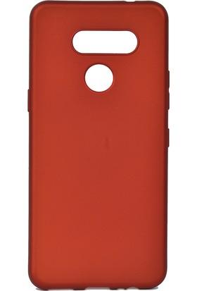 KNY LG K50S Kılıf Ultra İnce Mat Silikon + Nano Cam Ekran Koruyucu Kırmızı