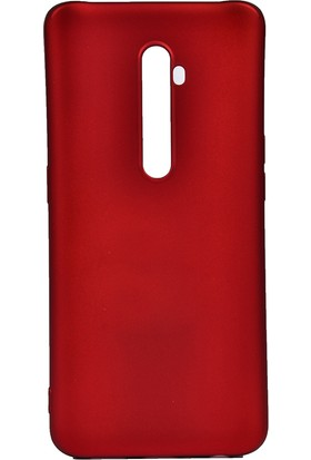 KNY OPPO Reno 2Z Kılıf ultra İnce Mat Silikon + Cam Ekran Koruyucu Kırmızı