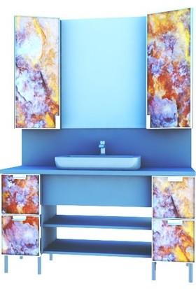 Artila Işıklı Kapaklı Taş Desen Seramik Çanak Lavabolu Tezgah ve Ara Panolu Esnek Ölçülü Banyo Dolabı