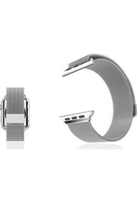 Schulzz Apple Watch Seri 3-4-5 Premium 42-44 mm Metal Milano Kordon - Gümüş