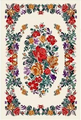 Halı Special Çiçek Desenli Beyaz Yıkanabilir İnce Yazlık Kilim - HS82021