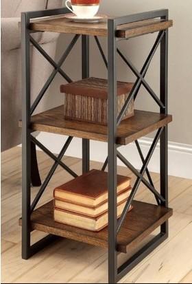 Trakia Wood TRKK-001 Masif Ahşap Metal Endüstriyel Tasarım Kitaplık