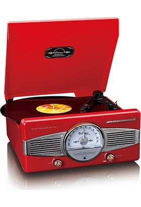 Classic Phono TT-27 RD Dahili Hoparlörlü Retro Pikap Plak Çalar (Kırmızı)
