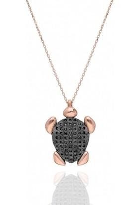 Modaincisi Özel Tasarım Kaplumbağa Gümüş Kolyesi