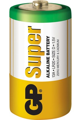 GP Super Alkalin 2'li D Boy Kalın Pil (GP13A-2U2)