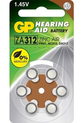 GP 6'lı ZA312 1.4V Düğme Kulaklık Pili (GPZA312-D6)
