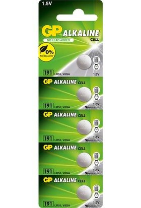 GP 5'li LR55 Alkalin Düğme Pil (GP191-C5)